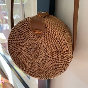 Handbags - Round Woven Rattan Bag Purse Genuine Leather Strap